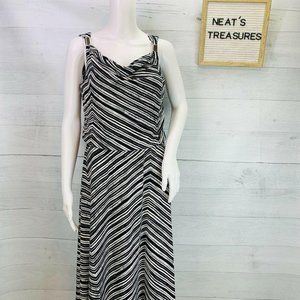 Calvin Klein Jersey Knit Striped Maxi Dress Size S